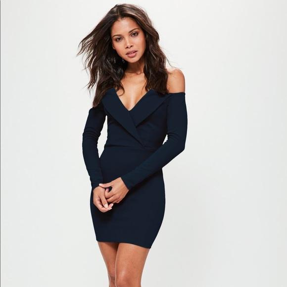 3514ace31281 Missguided Dresses | Navy Bardot Foldover Wrap Dress | Poshmark